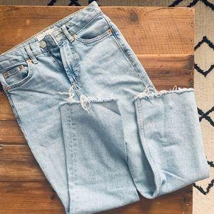 Topshop Straight Leg Frayed Crop Jeans